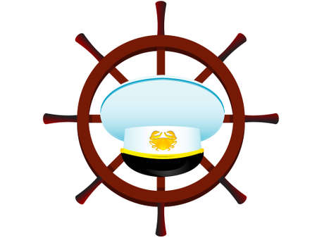 admiral: cap of the captain on a background of a steering wheel in a vector isolated Illustration