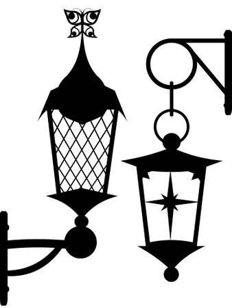 Silhouette of ancient original street lanterns in a vector Vector