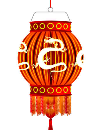 Traditional Chinese celebratory lantern with a silhouette of a dragon in a vector Vector