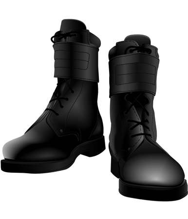 High, heavy army boots on a white background Vetores