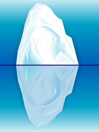 background antarctica: Ice iceberg and its reflection in the sea Illustration