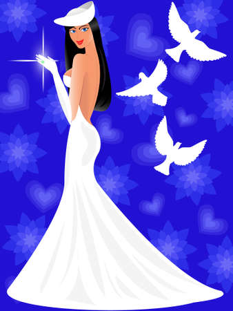 harmonous: The beautiful bride in a wedding dress is pleased to a wedding ring in a vector