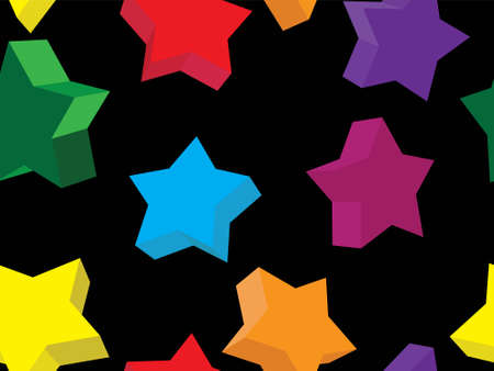Seamless pattern in the form of 3d stars of different color in a vector Stock Vector - 5734316