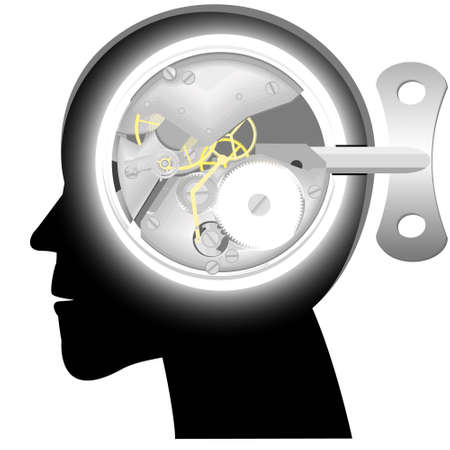 contemplate: Head with the mechanism of hours instead of a brain with a clockwork key in a vector Illustration