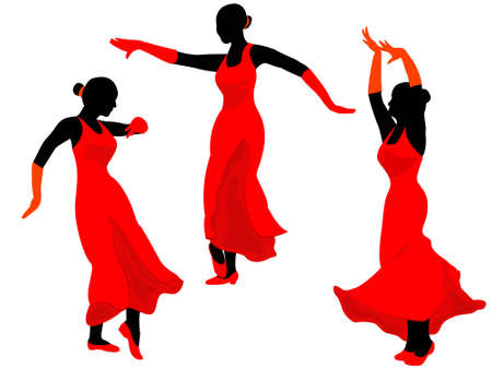 pirouette: Dance of the Spanish girls - it is black the white isolated vector
