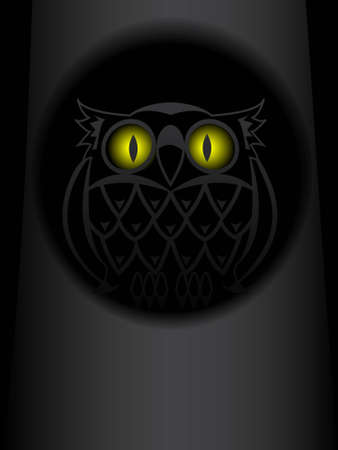 den: Shone eyes of an owl in a hollow of a tree at night