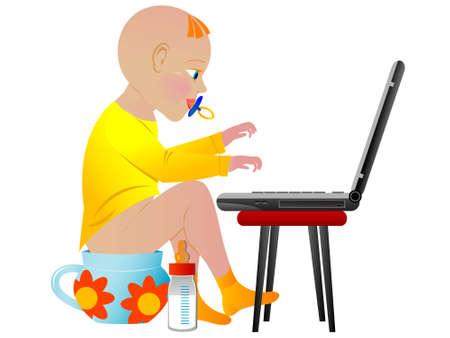 The baby the child prodigy works on notebook sitting on a night pot Stock Vector - 5823342
