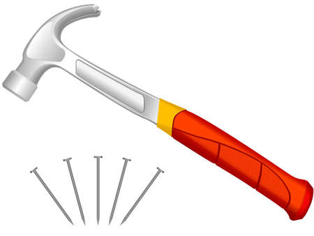 impact tool: The manual tool a hammer and fixing nails in a vector on a white background