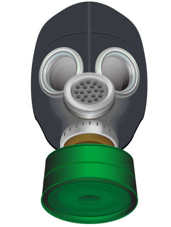 poisoning: Gas mask of protection against the chemical weapon and excited environment in a vector on a white background
