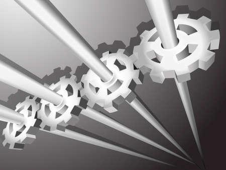 pulleys: 3D un fondo con engranajes y poleas de metales Vectores
