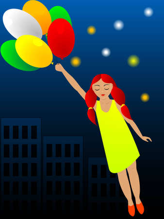 sleeps: The girl sleeps and grows in a dream to it flight on balloons sees