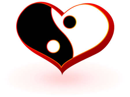 yin yang: S�mbolo de coraz�n con el symbolics chino del hombre y mujer a partir de un vector de yin y el yang  Vectores