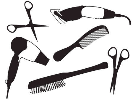 hair drier: Set of the hairdresser - a hair drier, scissors, a hairbrush  Illustration