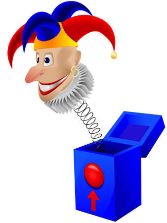 ingannare: Giocattolo per bambini il clown - un jolly in una scatola con una molla in un vettore isolato su uno sfondo bianco Vettoriali