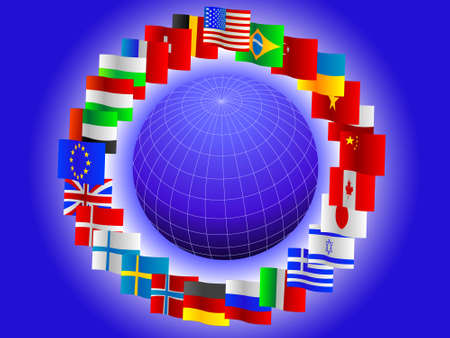 Background from globe and flags of the world Vector