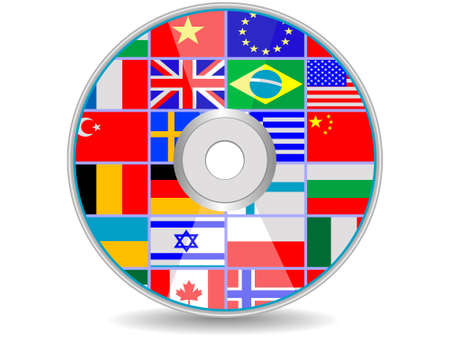 european economic community: dvd a disk with flags of the states for design