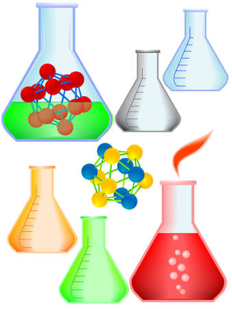 Icons the chemical equipment of laboratory and model of a molecule