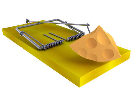 mousetrap: Trap a mousetrap with a piece of cheese isolated on a white background Stock Photo