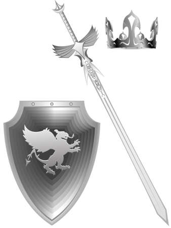 knightly: Knightly fantasy a sword a board with a griffin and a royal crown