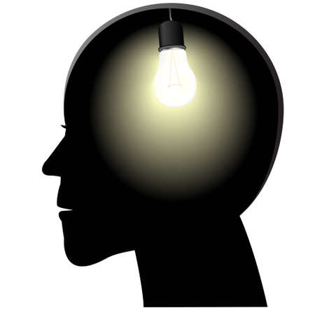 contemplate: Symbol of a birth of idea in a head in the form of a shone bulb