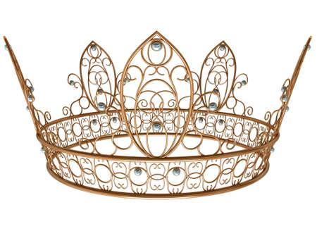 koninklijke kroon: Gouden koninklijke kroon geïsoleerd op een witte achtergrond