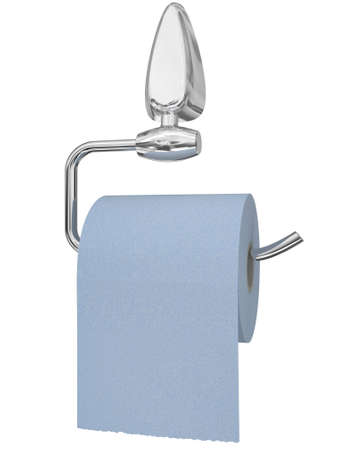 Paper on the steel holder for a toilet room isolated on a white background Stock Photo - 7990461
