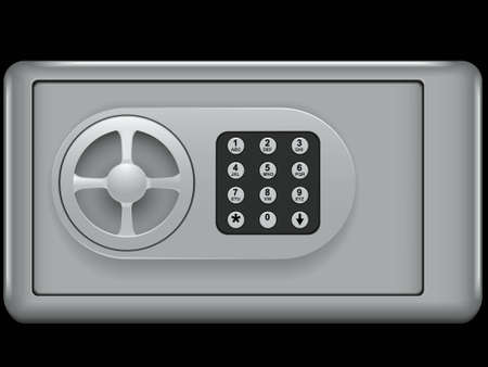 caja fuerte: Banco la caja fuerte de una celda para el almacenamiento de valores aislado en un fondo blanco