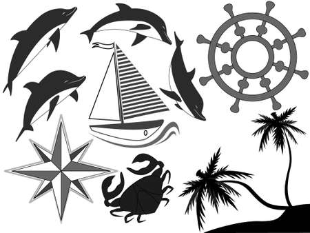 blackandwhite: Black-and-white sea symbols - dolphins, a steering wheel, a yacht