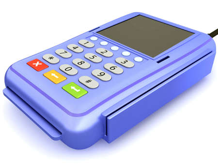 The input reader of credit cards for the clearing settlement in shop Stock Photo - 8478878