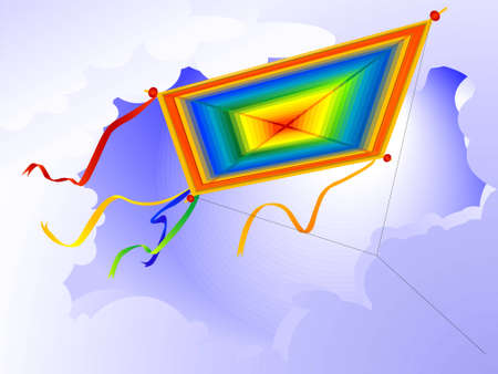 Childrens toy - a kite against the sky in a vector Illustration