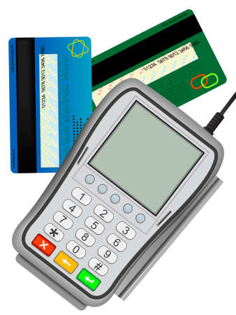 reader: The input reader of credit cards for the clearing settlement in shop