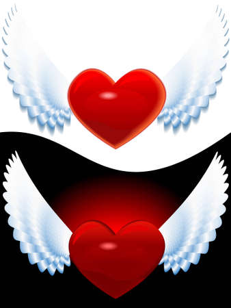 Heart of love with wings for valentine