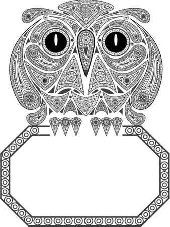 Background a frame with a wise eagle owl Illustration