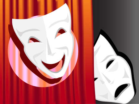 Theatrical masks a symbol of a comedy and tragedy in a vector Stock Vector - 9141298