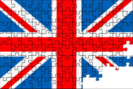 Background preparation in the form of a puzzle of a flag of the Great Britain in a vector Stock Vector - 9141300