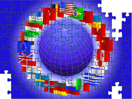 Background from globe and flags of the world in the form of a puzzle in a vector