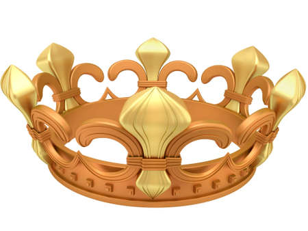 regalia: Royal gold crown isolated on a white background Stock Photo