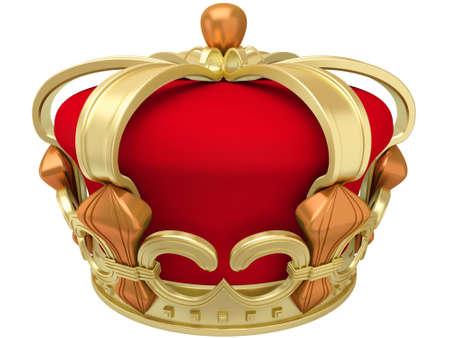 corona de rey: Corona imperial oro aislada en un fondo blanco