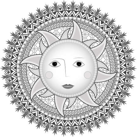Symbol of the sun in ethnic Russian style a vector Stock Vector - 9414044