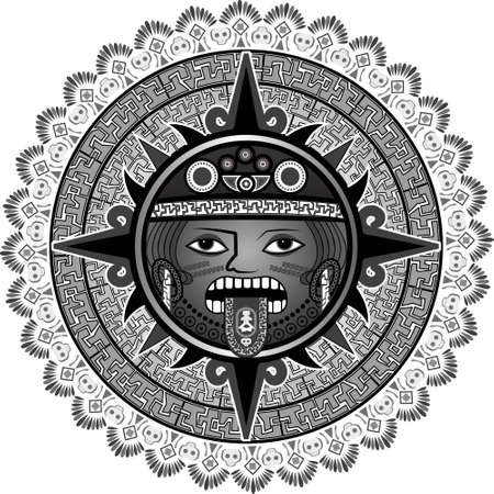 Deity of the sun of Indians of aztecs for a background in a vector Illustration