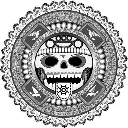 ethnography: The stylized deity of aztecs with a skull in a vector Illustration