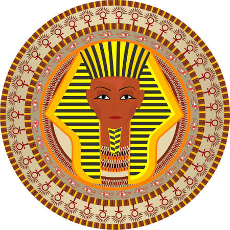 ethnography: Stylization a background with the pharaon of Egypt in a vector