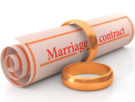 betrothal: Two gold rings and the wedding contract Stock Photo