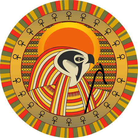 deities: Background the Egyptian god of sun Ra in a vector Illustration