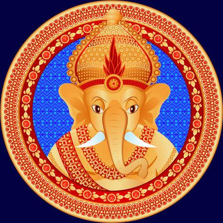 hinduismo: Estatua de oro de la deidad hind� con una cabeza de elefante en un vector