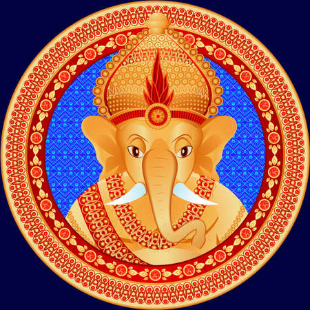 hinduism: Gold statue of the Indian deity with a head of the elephant in a vector Illustration