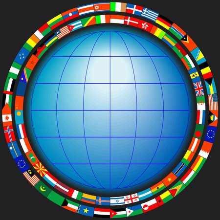 globo terraqueo: El mundo en un marco de banderas de los Estados en un vector