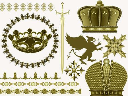 medioevo: Cose e simboli del Medio Evo una spada, una corona, un grifone