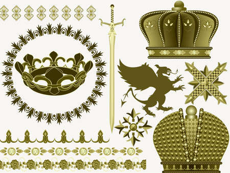 flower age: Things and symbols of the Middle Ages a sword, a crown, a griffin Illustration