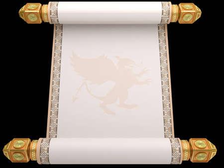 scroll?: El manuscrito antiguo aislado de un rollo de una base de oro sobre un fondo blanco